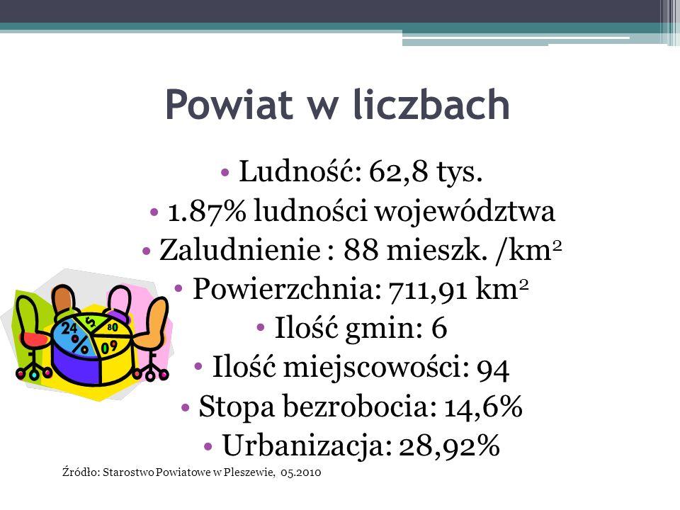 Powiat w liczbach Ludność: 62,8 tys. 1.87% ludności województwa Zaludnienie : 88 mieszk. /km 2 Powierzchnia: 711,91 km 2 Ilość gmin: 6 Ilość miejscowo