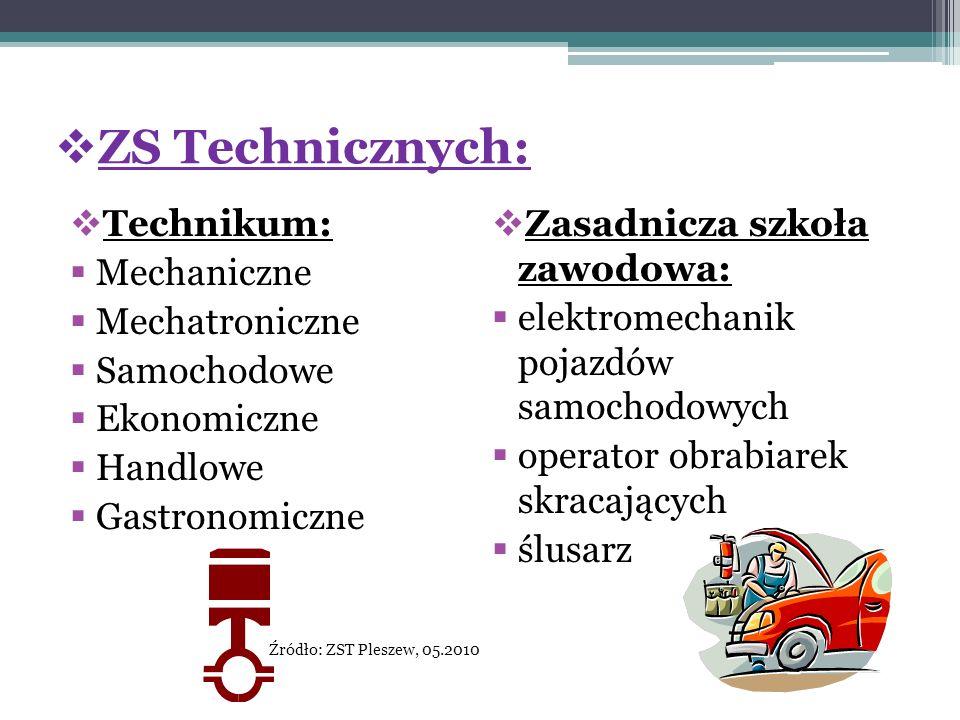 ZS Technicznych: Technikum: Mechaniczne Mechatroniczne Samochodowe Ekonomiczne Handlowe Gastronomiczne Źródło: ZST Pleszew, 05.2010 Zasadnicza szkoła