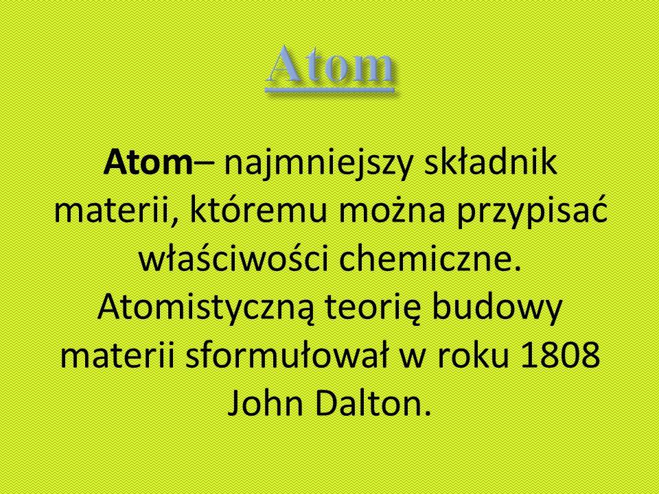 Atom.Atom to najmniejsza, niepodzielna część materii.