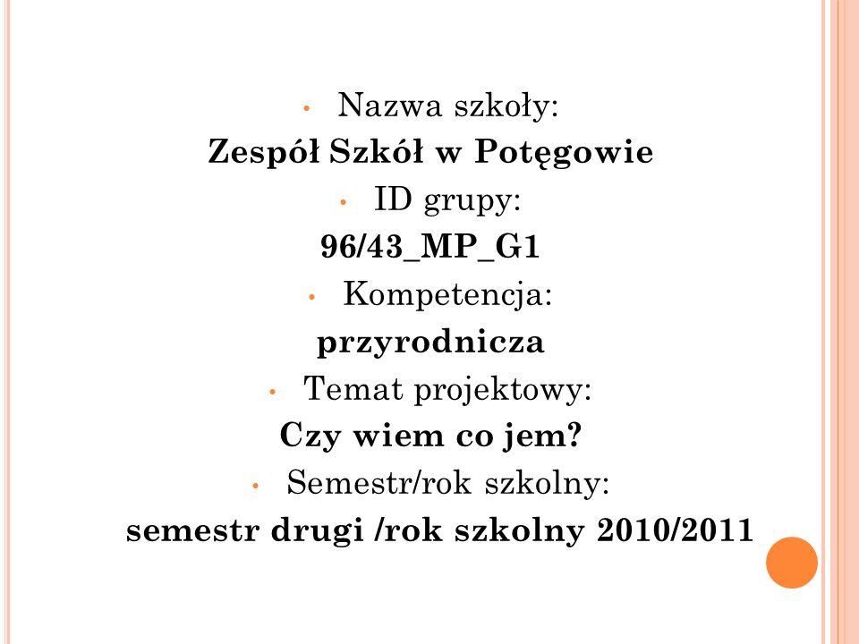 Nazwa szkoły: Zespół Szkół w Potęgowie ID grupy: 96/43_MP_G1 Kompetencja: przyrodnicza Temat projektowy: Czy wiem co jem? Semestr/rok szkolny: semestr