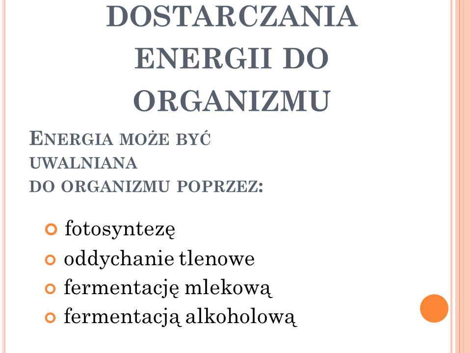 fotosyntezę oddychanie tlenowe fermentację mlekową fermentacją alkoholową E NERGIA MOŻE BYĆ UWALNIANA DO ORGANIZMU POPRZEZ : S POSOBY DOSTARCZANIA ENE