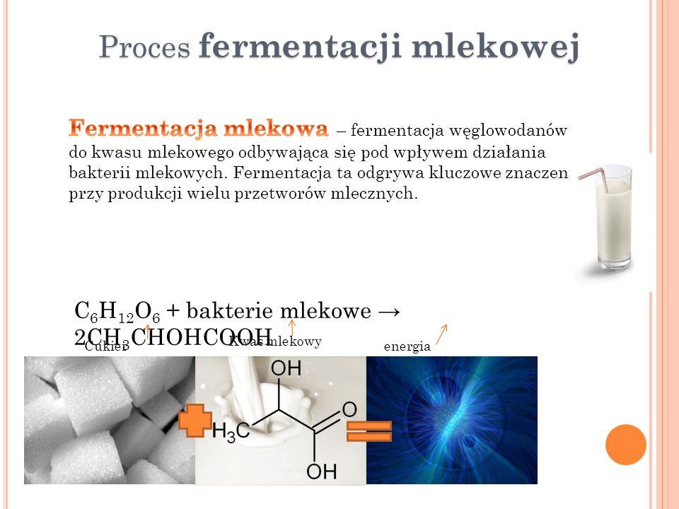 Proces fermentacji mlekowej C 6 H 12 O 6 + bakterie mlekowe 2CH 3 CHOHCOOH Cukier prosty Kwas mlekowy energia