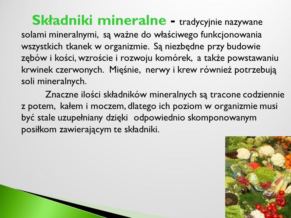 Składniki mineralne - tradycyjnie nazywane solami mineralnymi, są ważne do właściwego funkcjonowania wszystkich tkanek w organizmie. Są niezbędne przy