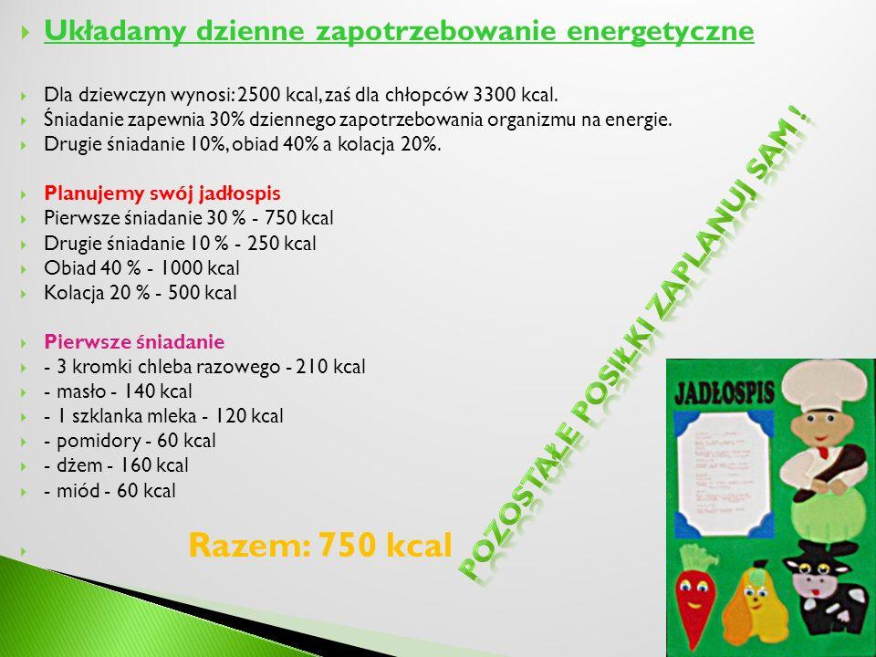 Układamy dzienne zapotrzebowanie energetyczne Dla dziewczyn wynosi: 2500 kcal, zaś dla chłopców 3300 kcal. Śniadanie zapewnia 30% dziennego zapotrzebo