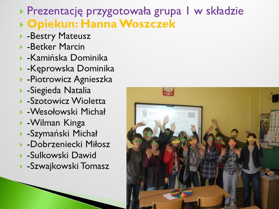 Prezentację przygotowała grupa 1 w składzie Opiekun: Hanna Woszczek -Bestry Mateusz -Betker Marcin -Kamińska Dominika -Kęprowska Dominika -Piotrowicz