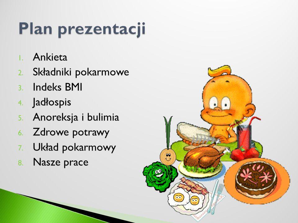 1. Ankieta 2. Składniki pokarmowe 3. Indeks BMI 4. Jadłospis 5. Anoreksja i bulimia 6. Zdrowe potrawy 7. Układ pokarmowy 8. Nasze prace