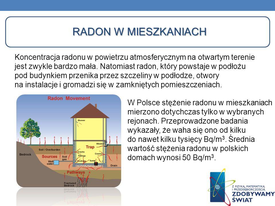 RADON W MIESZKANIACH Koncentracja radonu w powietrzu atmosferycznym na otwartym terenie jest zwykle bardzo mała. Natomiast radon, który powstaje w pod