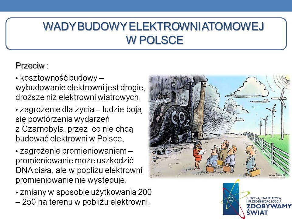 WADY BUDOWY ELEKTROWNI ATOMOWEJ W POLSCE Przeciw : kosztowność budowy – wybudowanie elektrowni jest drogie, droższe niż elektrowni wiatrowych, zagroże
