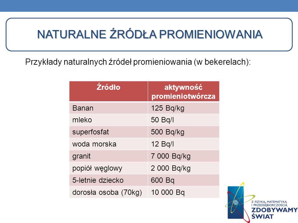 NATURALNE ŹRÓDŁA PROMIENIOWANIA Przykłady naturalnych źródeł promieniowania (w bekerelach): Źródłoaktywność promieniotwórcza Banan125 Bq/kg mleko50 Bq