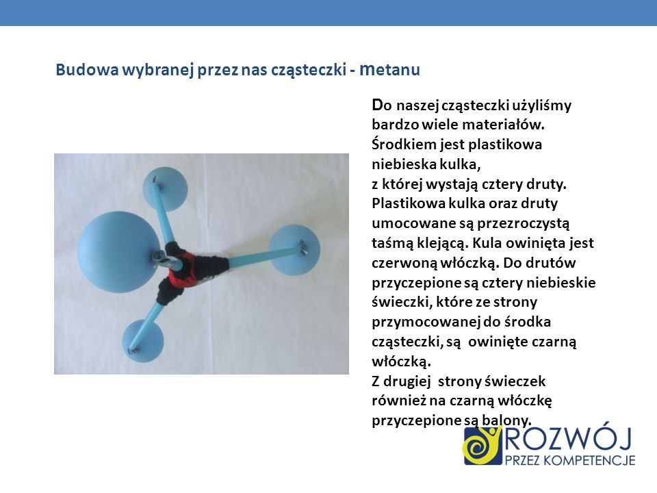 Budowa wybranej przez nas cząsteczki - m etanu D o naszej cząsteczki użyliśmy bardzo wiele materiałów. Środkiem jest plastikowa niebieska kulka, z któ