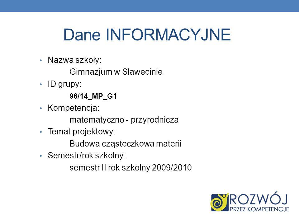 Dane INFORMACYJNE Nazwa szkoły: Gimnazjum w Sławecinie ID grupy: 96/14_MP_G1 Kompetencja: matematyczno - przyrodnicza Temat projektowy: Budowa cząstec