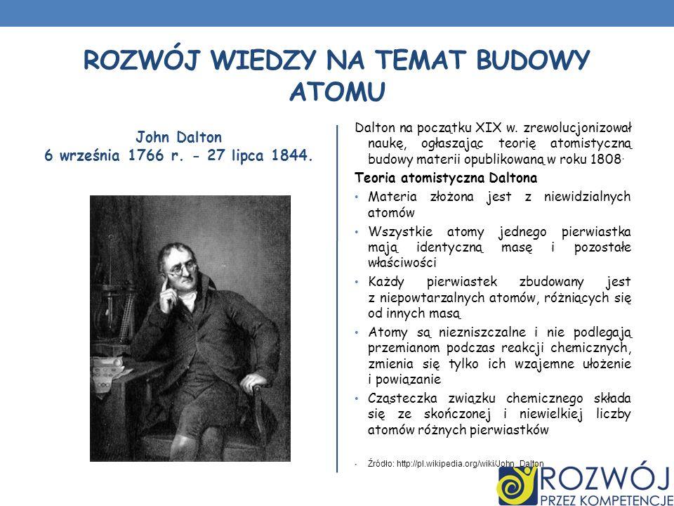 ROZWÓJ WIEDZY NA TEMAT BUDOWY ATOMU John Dalton 6 września 1766 r. - 27 lipca 1844. Dalton na początku XIX w. zrewolucjonizował naukę, ogłaszając teor