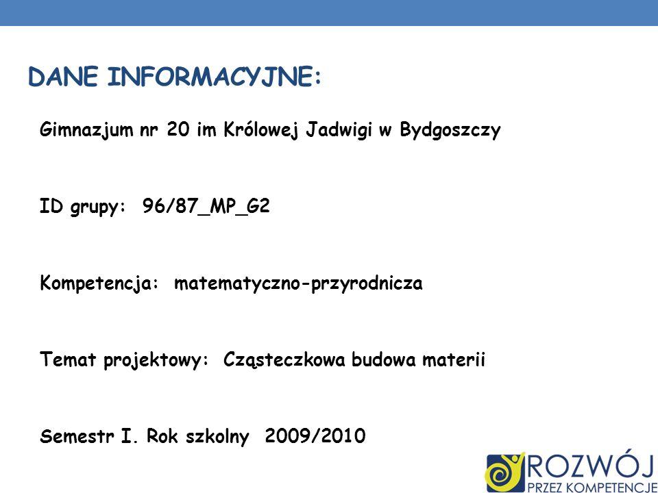DANE INFORMACYJNE: Gimnazjum nr 20 im Królowej Jadwigi w Bydgoszczy ID grupy: 96/87_MP_G2 Kompetencja: matematyczno-przyrodnicza Temat projektowy: Czą