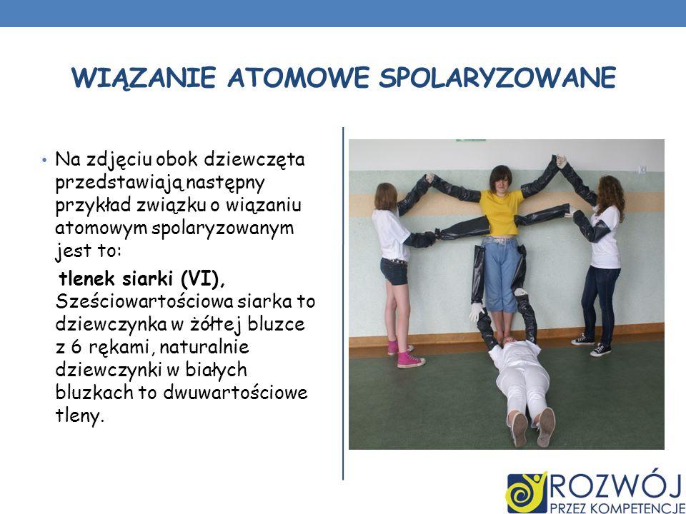 WIĄZANIE ATOMOWE SPOLARYZOWANE Na zdjęciu obok dziewczęta przedstawiają następny przykład związku o wiązaniu atomowym spolaryzowanym jest to: tlenek s