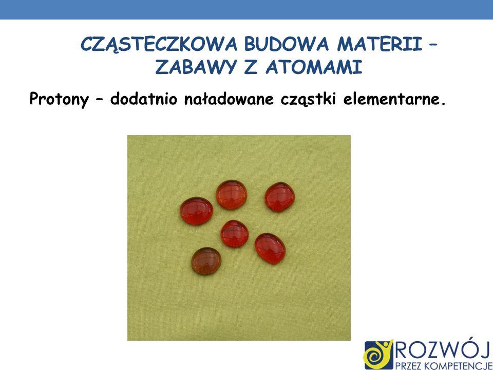 CZĄSTECZKOWA BUDOWA MATERII – ZABAWY Z ATOMAMI Protony – dodatnio naładowane cząstki elementarne.