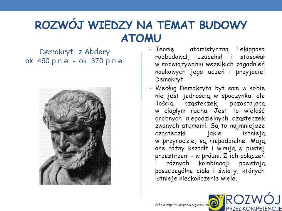 ROZWÓJ WIEDZY NA TEMAT BUDOWY ATOMU Demokryt z Abdery ok. 460 p.n.e. -. ok. 370 p.n.e. Teorię atomistyczną Lekipposa rozbudował, uzupełnił i stosował