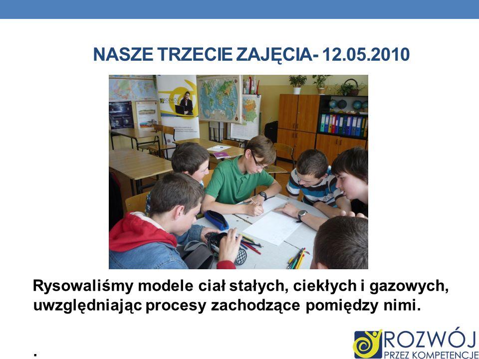 NASZE TRZECIE ZAJĘCIA- 12.05.2010 Rysowaliśmy modele ciał stałych, ciekłych i gazowych, uwzględniając procesy zachodzące pomiędzy nimi..