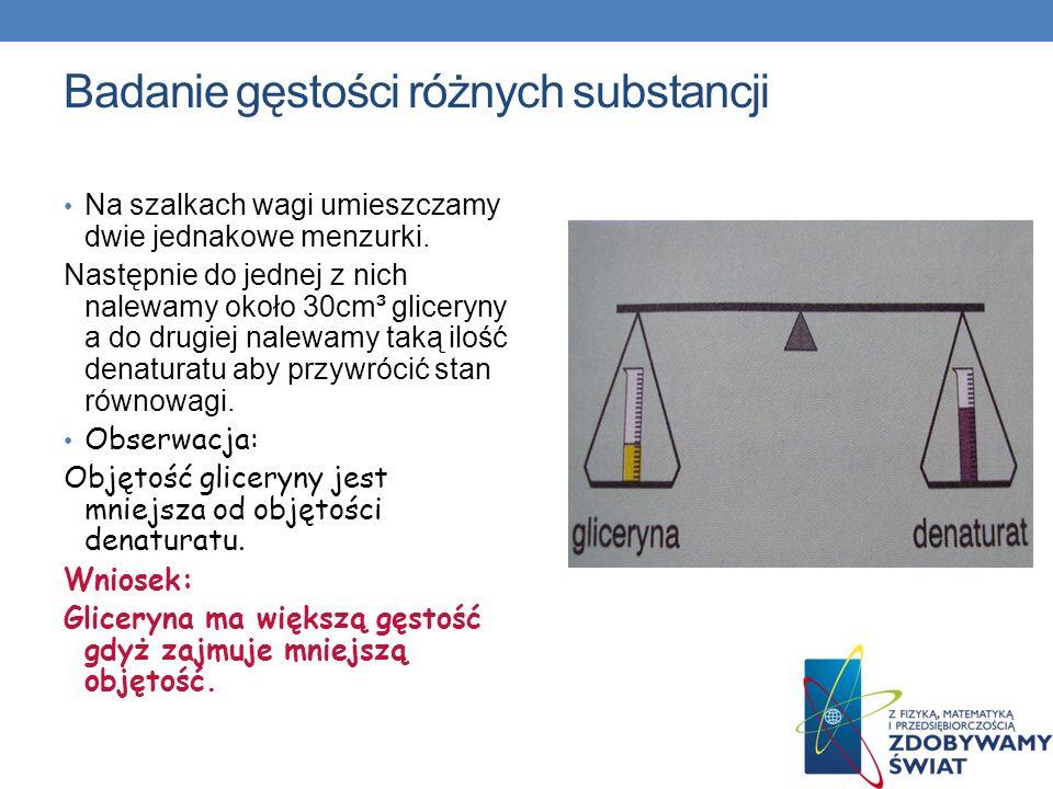 Badanie gęstości różnych substancji Na szalkach wagi umieszczamy dwie jednakowe menzurki. Następnie do jednej z nich nalewamy około 30cm³ gliceryny a