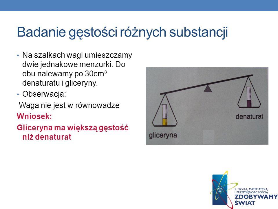 Badanie gęstości różnych substancji Na szalkach wagi umieszczamy dwie jednakowe menzurki. Do obu nalewamy po 30cm³ denaturatu i gliceryny. Obserwacja: