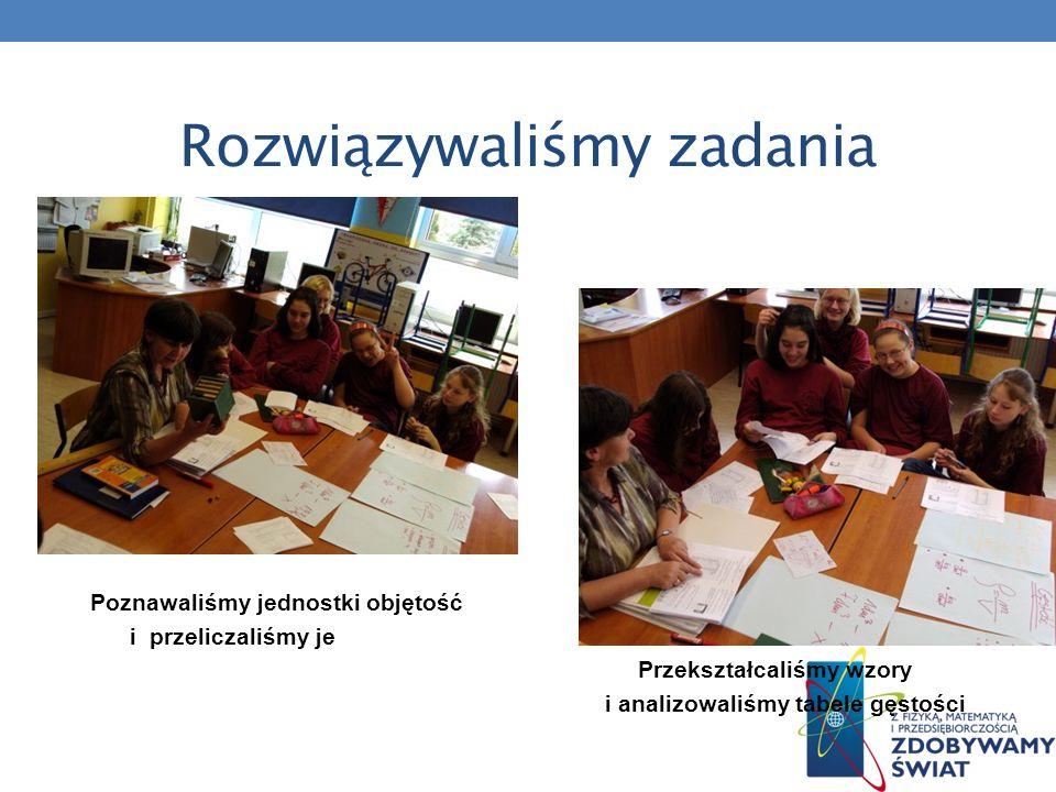 Rozwiązywaliśmy zadania Poznawaliśmy jednostki objętość i przeliczaliśmy je Przekształcaliśmy wzory i analizowaliśmy tabele gęstości