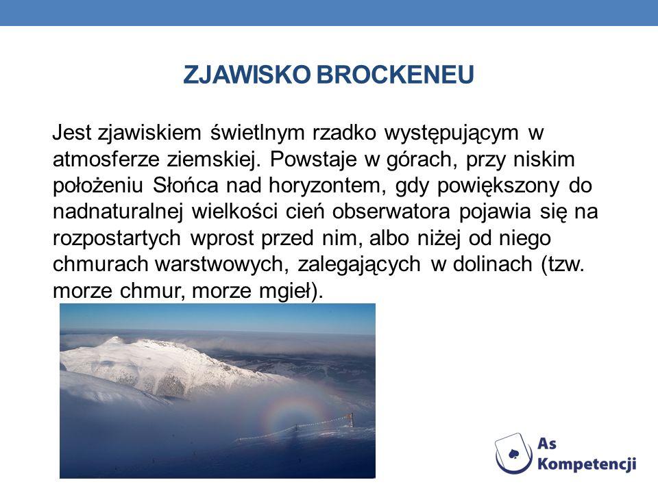 ZJAWISKO BROCKENEU Jest zjawiskiem świetlnym rzadko występującym w atmosferze ziemskiej.