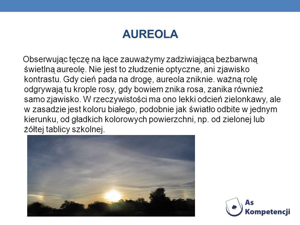 AUREOLA Obserwując tęczę na łące zauważymy zadziwiającą bezbarwną świetlną aureolę.