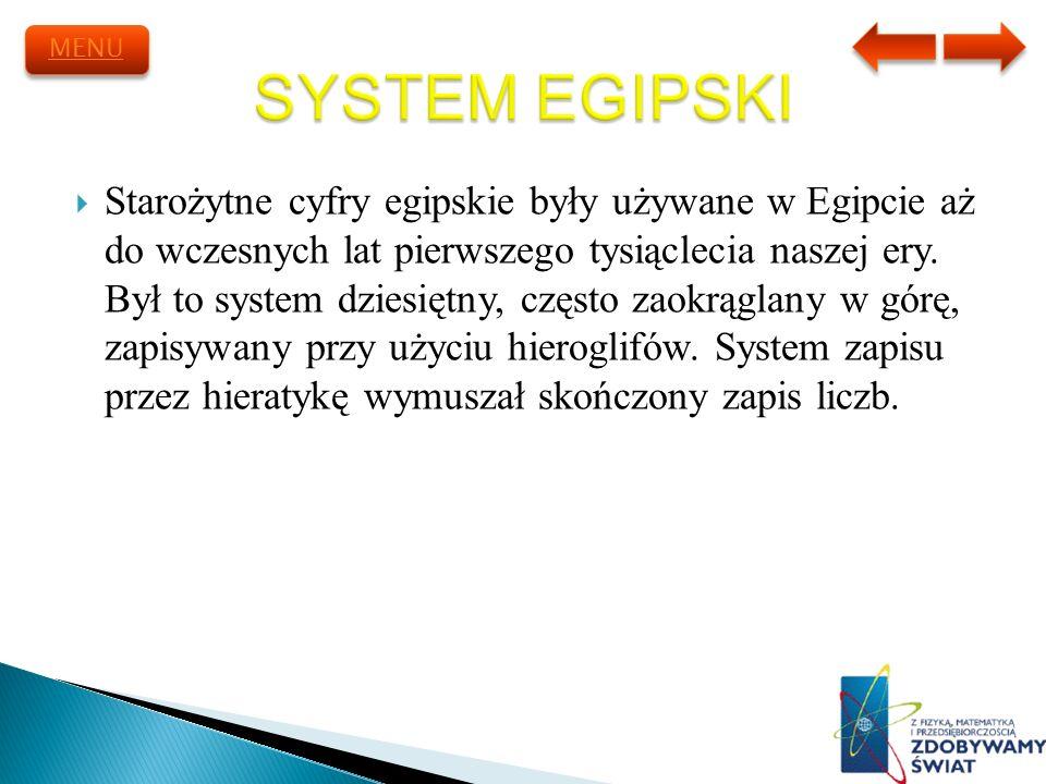 Starożytne cyfry egipskie były używane w Egipcie aż do wczesnych lat pierwszego tysiąclecia naszej ery. Był to system dziesiętny, często zaokrąglany w