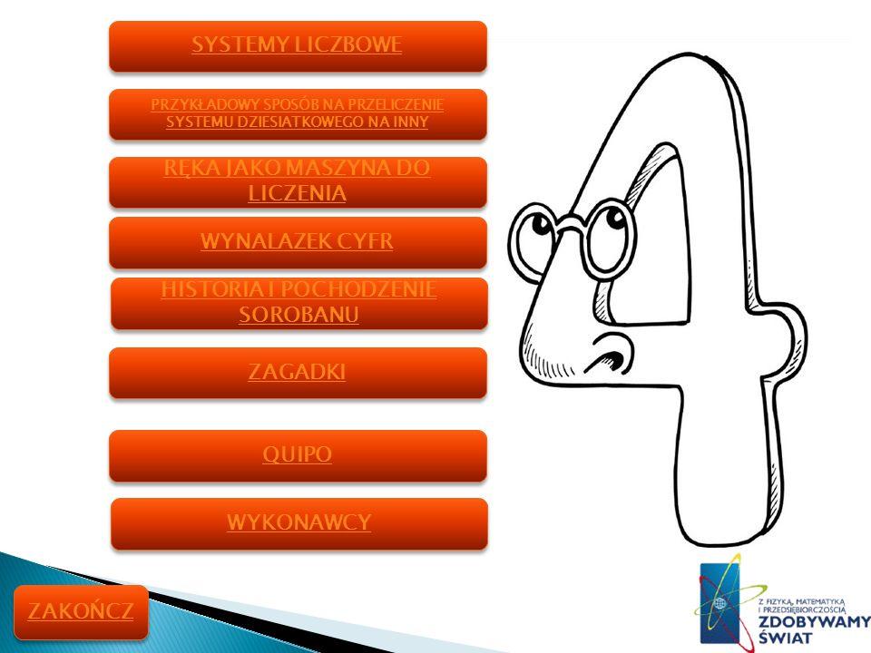 www.powuz-olesno.pl www.typoscriptics.de/soroban/index.html www.soroban.pl/historia.html www.gazetka_matematyczna.republika.pl http://gry-dladzieci.pl/ http://cieplinski.prv.pl/ http://s3.amazonaws.com/ Georges Ifrah, Dzieje liczby, czyli historia wielkiego wynalazku.
