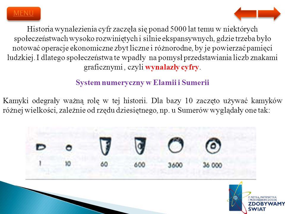 Historia wynalezienia cyfr zaczęła się ponad 5000 lat temu w niektórych społeczeństwach wysoko rozwiniętych i silnie ekspansywnych, gdzie trzeba było