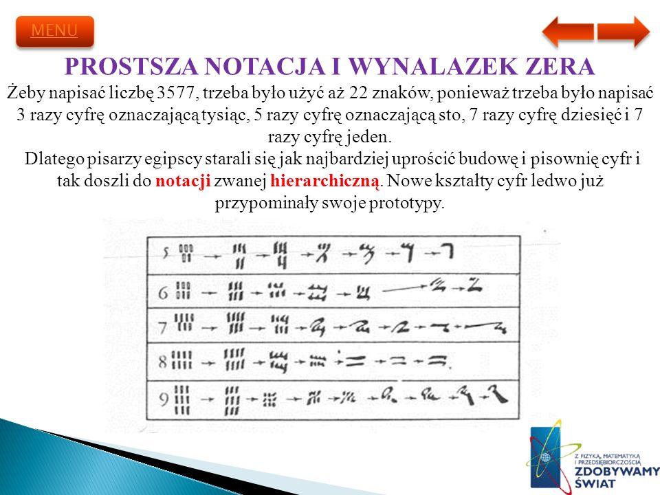 PROSTSZA NOTACJA I WYNALAZEK ZERA Żeby napisać liczbę 3577, trzeba było użyć aż 22 znaków, ponieważ trzeba było napisać 3 razy cyfrę oznaczającą tysią