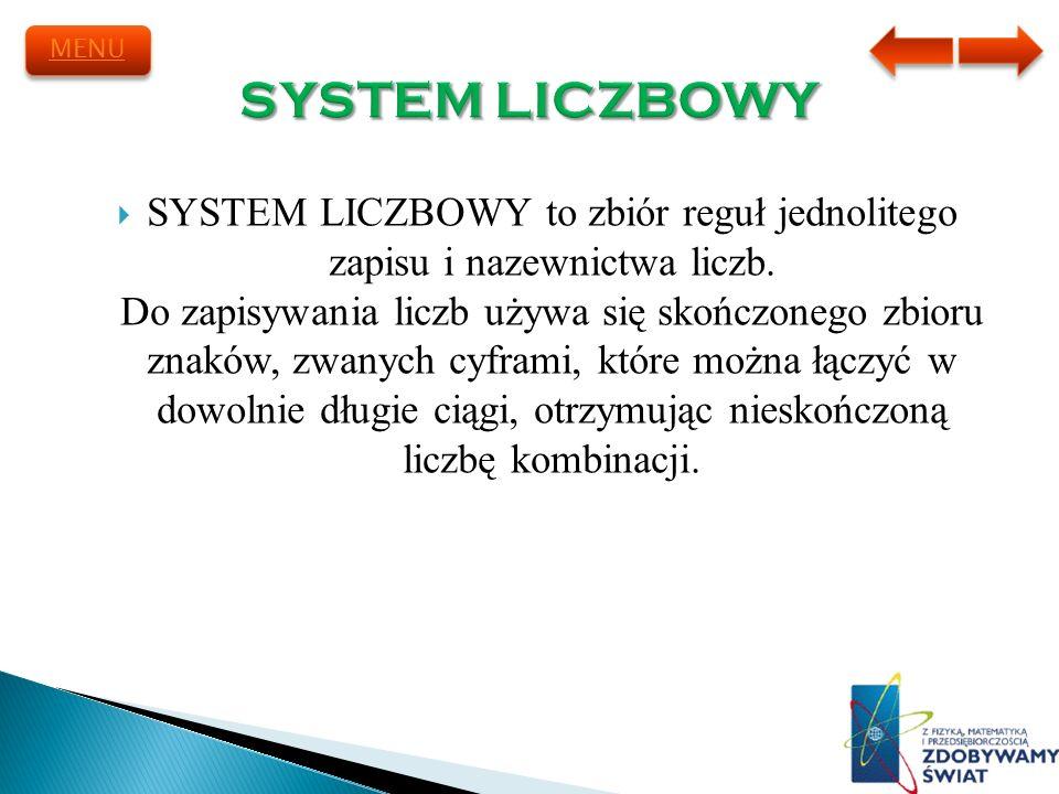 SYSTEM LICZBOWY to zbiór reguł jednolitego zapisu i nazewnictwa liczb. Do zapisywania liczb używa się skończonego zbioru znaków, zwanych cyframi, któr