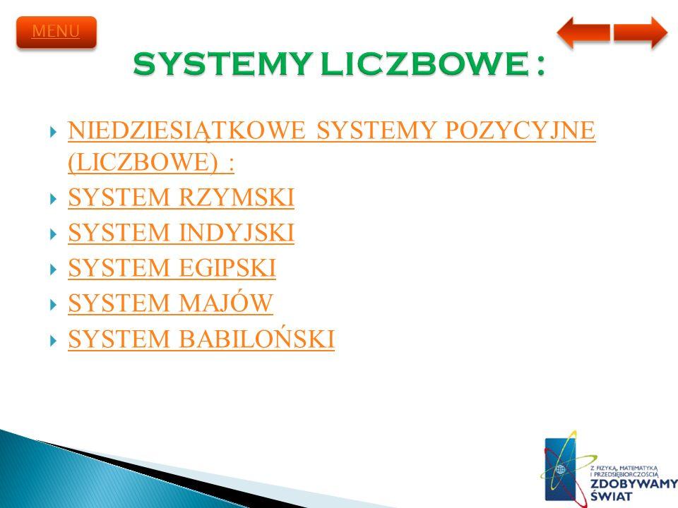 NIEDZIESIĄTKOWE SYSTEMY POZYCYJNE (LICZBOWE) : NIEDZIESIĄTKOWE SYSTEMY POZYCYJNE (LICZBOWE) : SYSTEM RZYMSKI SYSTEM INDYJSKI SYSTEM EGIPSKI SYSTEM MAJ