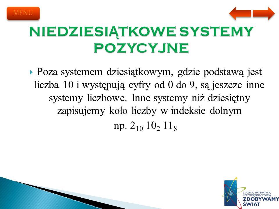 Poza systemem dziesiątkowym, gdzie podstawą jest liczba 10 i występują cyfry od 0 do 9, są jeszcze inne systemy liczbowe. Inne systemy niż dziesiętny