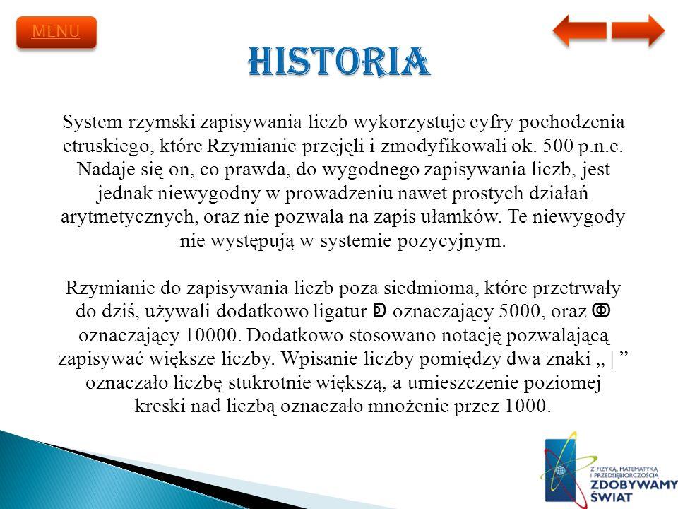 System rzymski zapisywania liczb wykorzystuje cyfry pochodzenia etruskiego, które Rzymianie przejęli i zmodyfikowali ok. 500 p.n.e. Nadaje się on, co