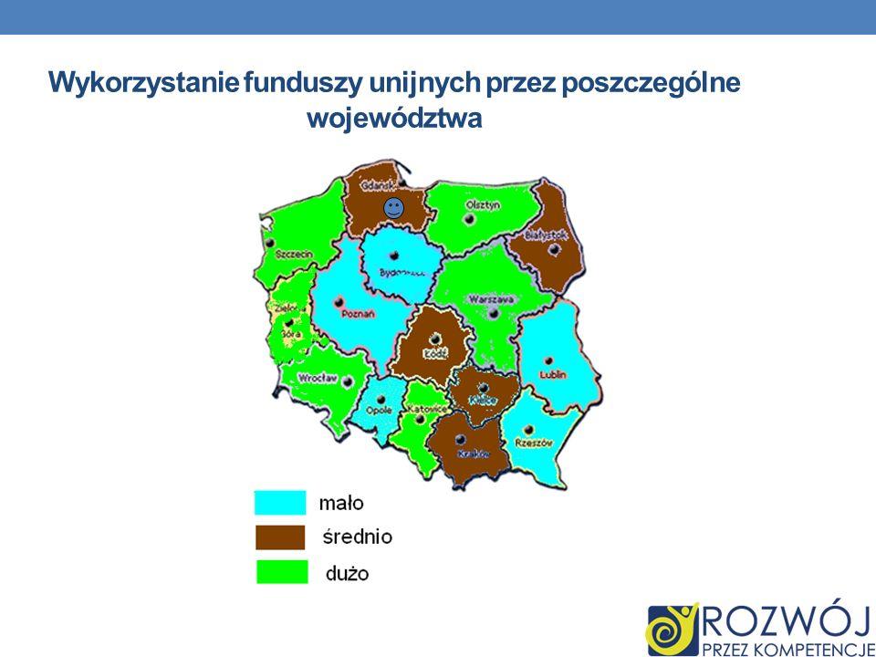 Wykorzystanie funduszy unijnych przez poszczególne województwa