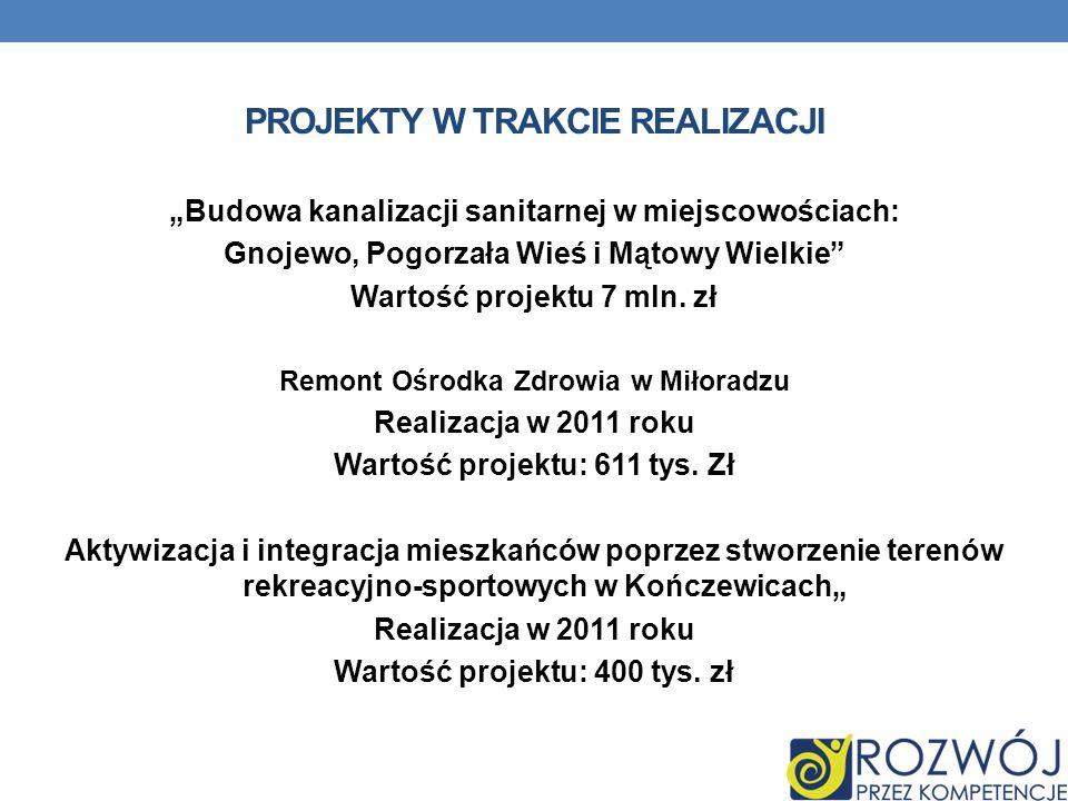 PROJEKTY W TRAKCIE REALIZACJI Budowa kanalizacji sanitarnej w miejscowościach: Gnojewo, Pogorzała Wieś i Mątowy Wielkie Wartość projektu 7 mln.