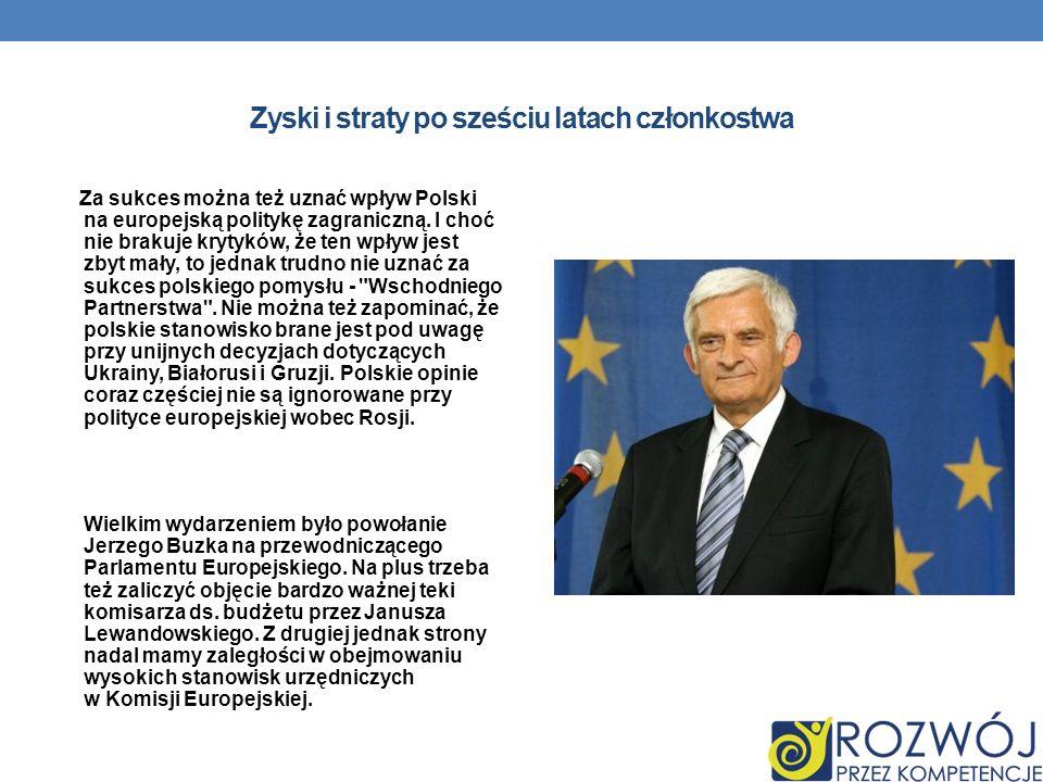 Zyski i straty po sześciu latach członkostwa Za sukces można też uznać wpływ Polski na europejską politykę zagraniczną.