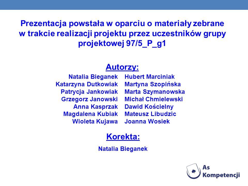Prezentacja powstała w oparciu o materiały zebrane w trakcie realizacji projektu przez uczestników grupy projektowej 97/5_P_g1 Autorzy: Hubert Marcini