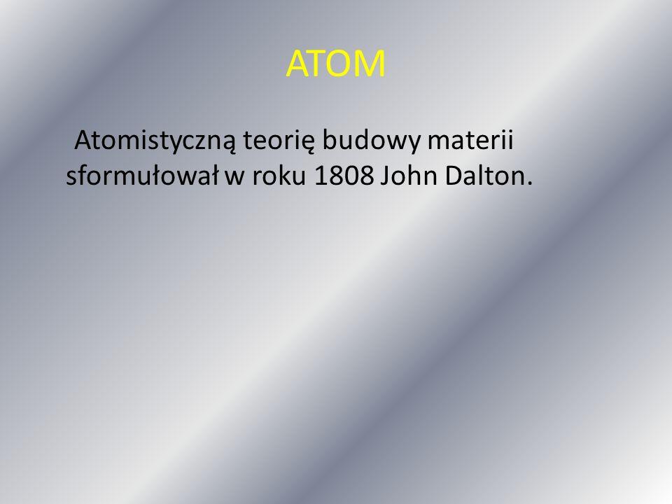 ATOM Atomistyczną teorię budowy materii sformułował w roku 1808 John Dalton.