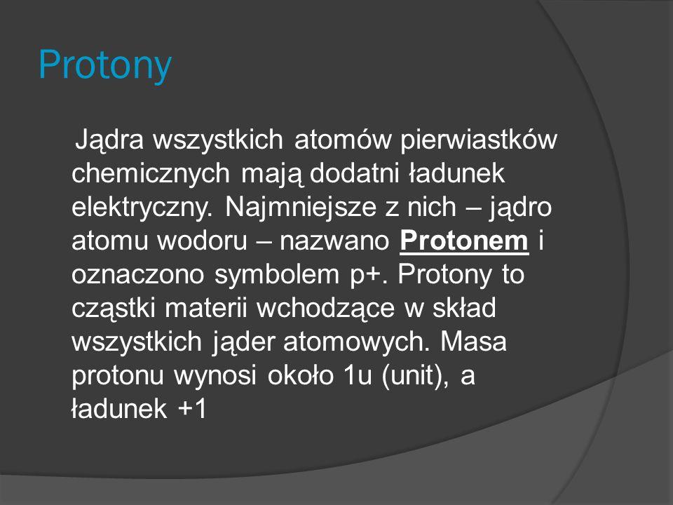 Protony Jądra wszystkich atomów pierwiastków chemicznych mają dodatni ładunek elektryczny.