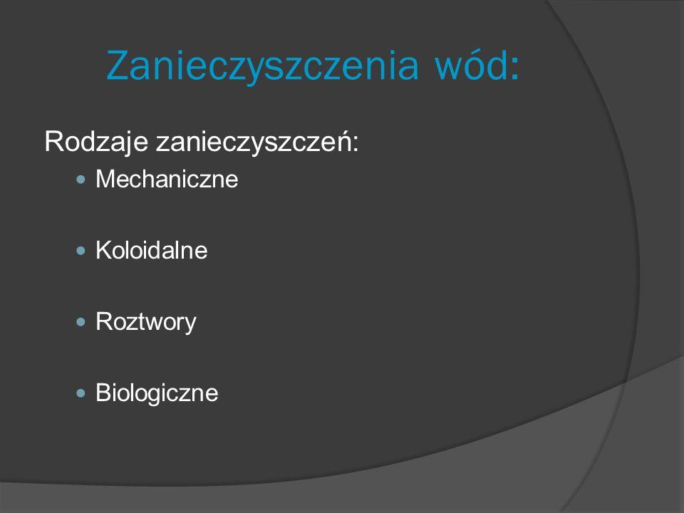 Zanieczyszczenia wód: Rodzaje zanieczyszczeń: Mechaniczne Koloidalne Roztwory Biologiczne
