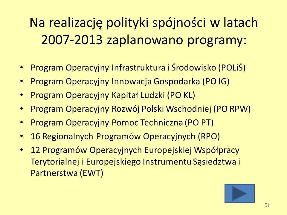 Na realizację polityki spójności w latach 2007-2013 zaplanowano programy: Program Operacyjny Infrastruktura i Środowisko (POLiŚ) Program Operacyjny Innowacja Gospodarka (PO IG) Program Operacyjny Kapitał Ludzki (PO KL) Program Operacyjny Rozwój Polski Wschodniej (PO RPW) Program Operacyjny Pomoc Techniczna (PO PT) 16 Regionalnych Programów Operacyjnych (RPO) 12 Programów Operacyjnych Europejskiej Współpracy Terytorialnej i Europejskiego Instrumentu Sąsiedztwa i Partnerstwa (EWT) 51