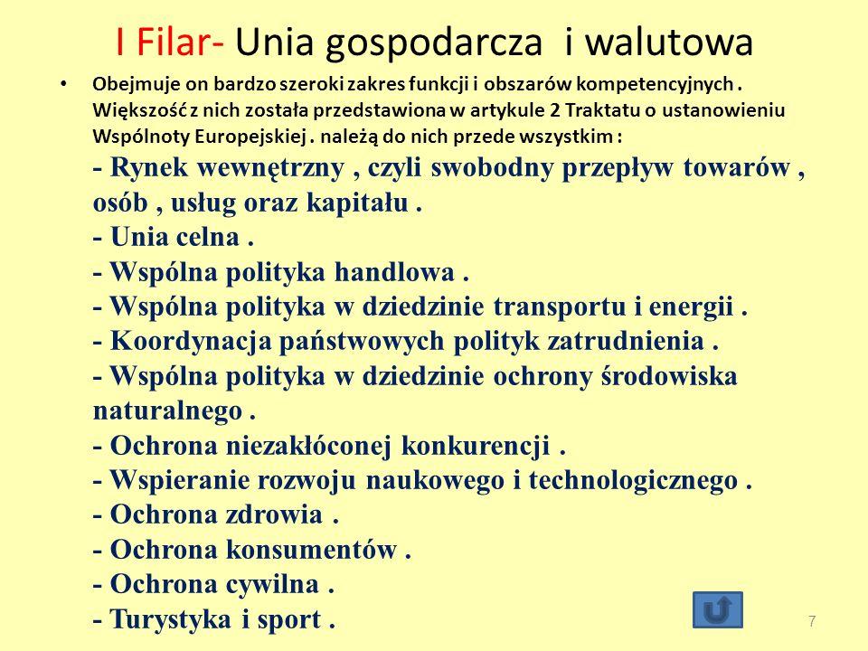 I Filar- Unia gospodarcza i walutowa Obejmuje on bardzo szeroki zakres funkcji i obszarów kompetencyjnych.
