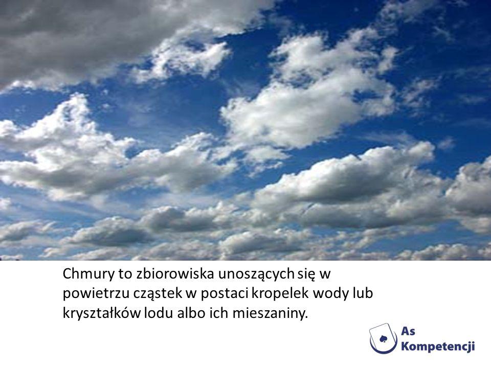 Chmury to zbiorowiska unoszących się w powietrzu cząstek w postaci kropelek wody lub kryształków lodu albo ich mieszaniny.