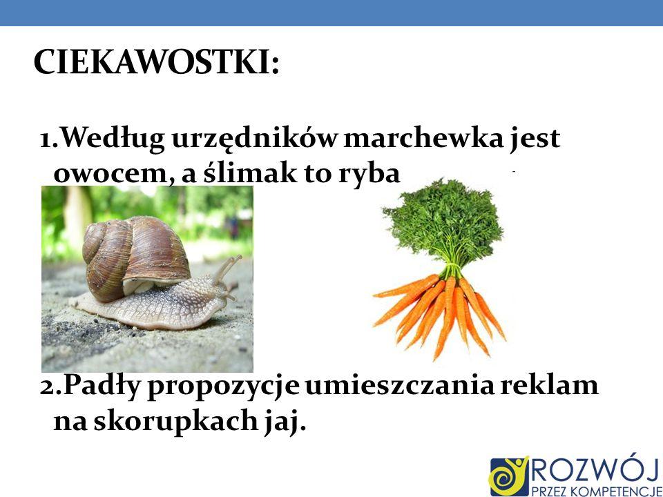 CIEKAWOSTKI: 1.Według urzędników marchewka jest owocem, a ślimak to ryba 2.Padły propozycje umieszczania reklam na skorupkach jaj.