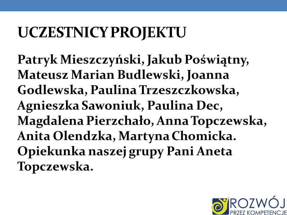 UCZESTNICY PROJEKTU Patryk Mieszczyński, Jakub Poświątny, Mateusz Marian Budlewski, Joanna Godlewska, Paulina Trzeszczkowska, Agnieszka Sawoniuk, Paul