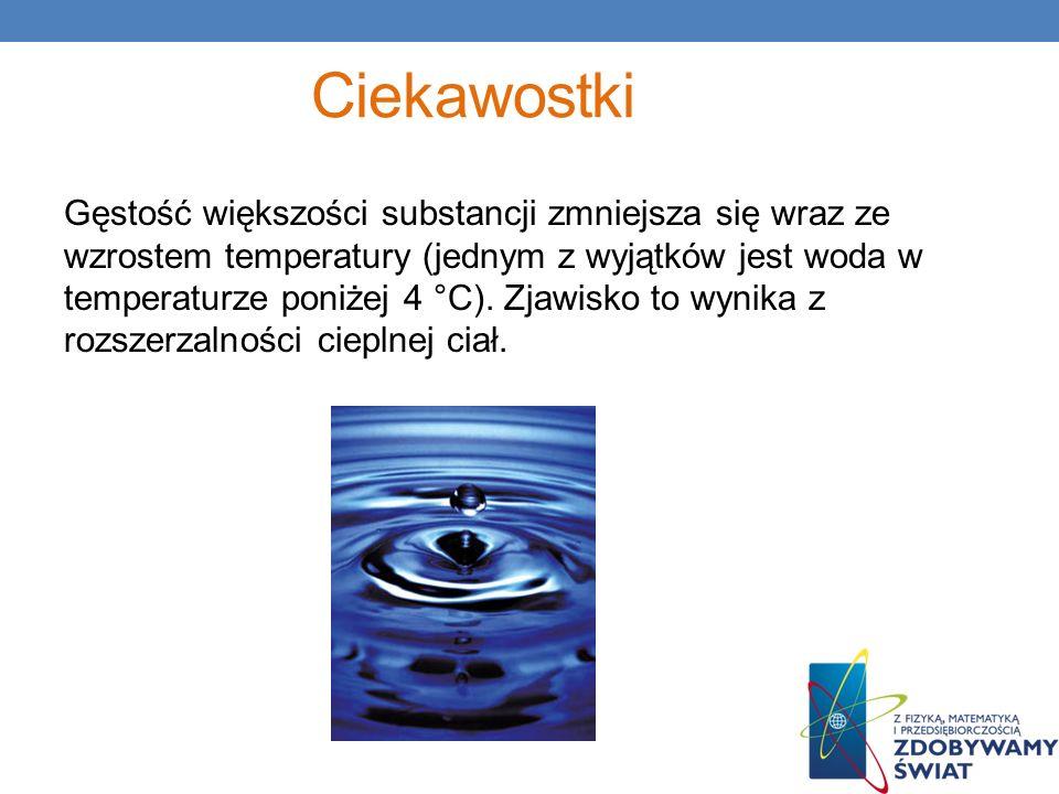 Ciekawostki Gęstość większości substancji zmniejsza się wraz ze wzrostem temperatury (jednym z wyjątków jest woda w temperaturze poniżej 4 °C). Zjawis