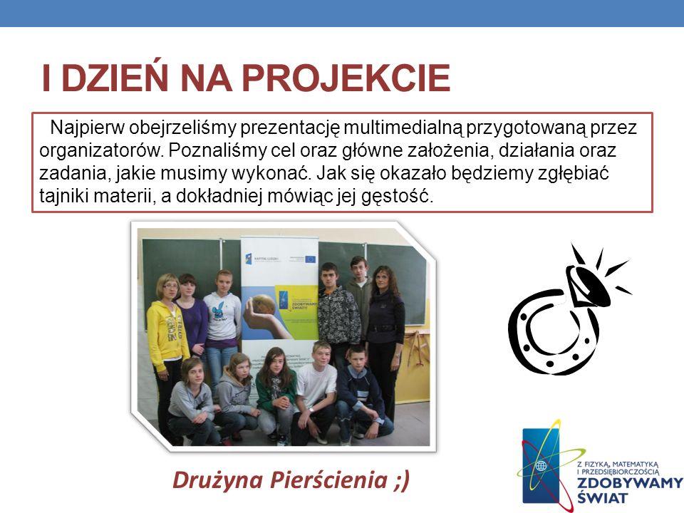 I DZIEŃ NA PROJEKCIE Najpierw obejrzeliśmy prezentację multimedialną przygotowaną przez organizatorów. Poznaliśmy cel oraz główne założenia, działania