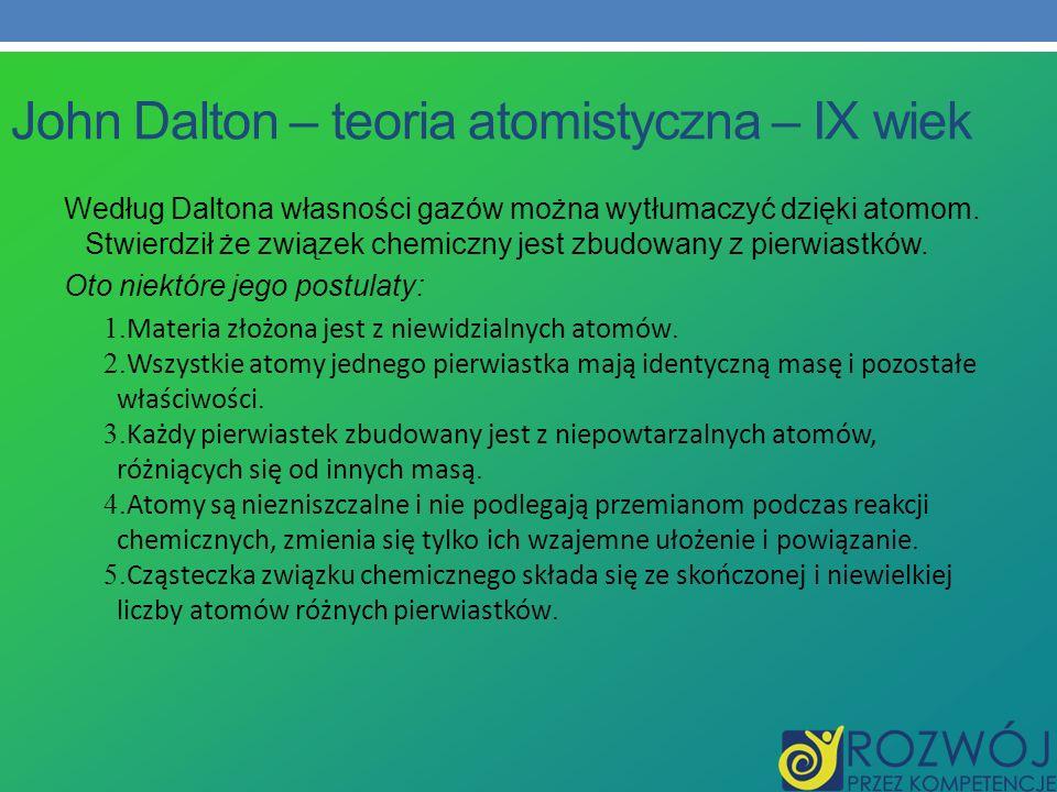 John Dalton – teoria atomistyczna – IX wiek Według Daltona własności gazów można wytłumaczyć dzięki atomom. Stwierdził że związek chemiczny jest zbudo