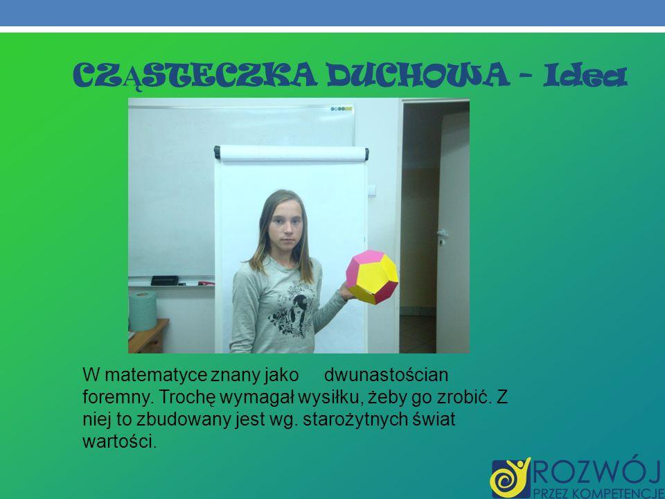 CZ Ą STECZKA DUCHOWA - Idea W matematyce znany jako dwunastościan foremny. Trochę wymagał wysiłku, żeby go zrobić. Z niej to zbudowany jest wg. staroż